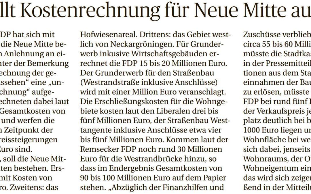 … und es geht eben doch! FDP stellt Kostenrechnung für Neue Mitte auf